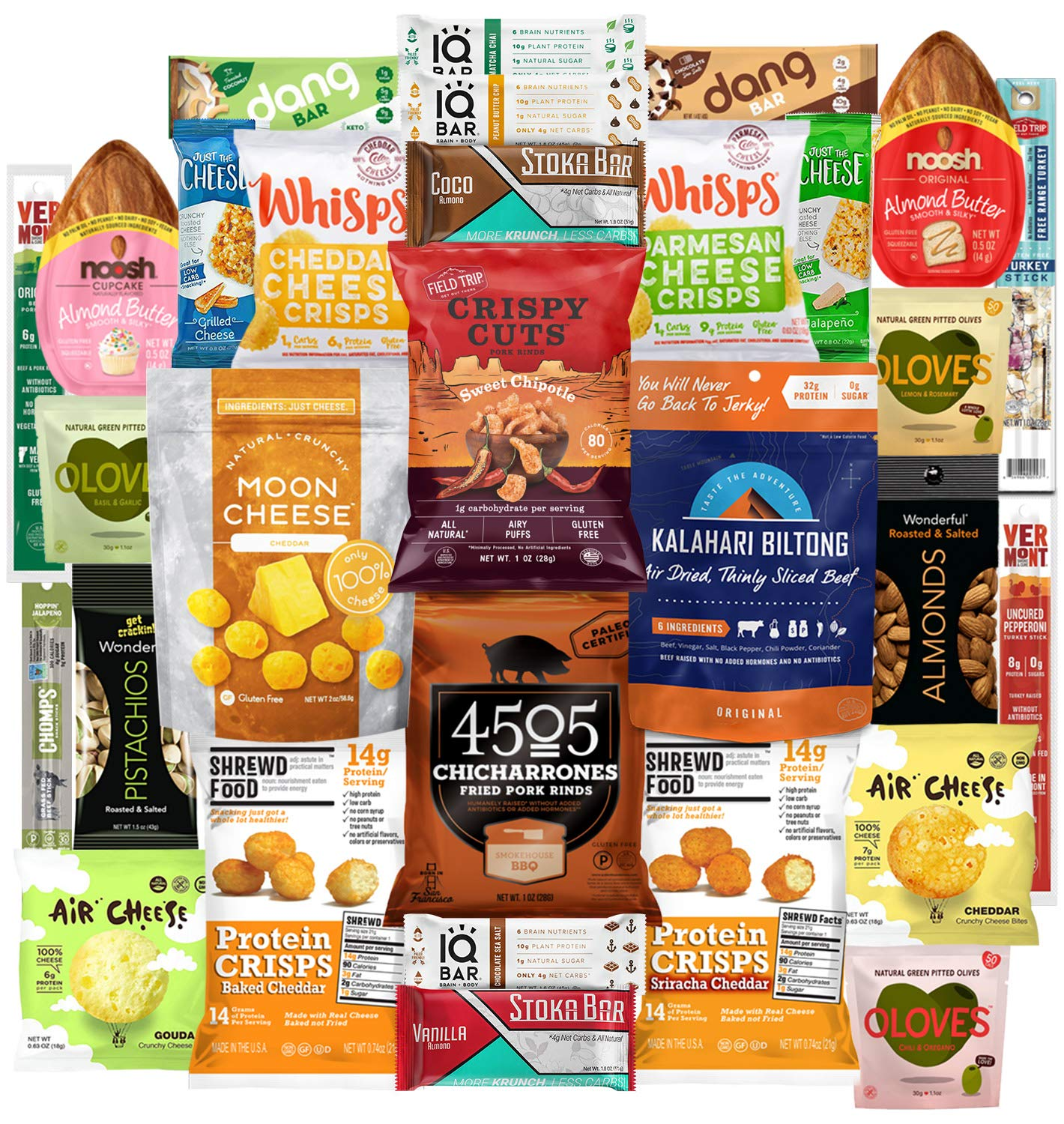 Keto Snacks Care Package (30 Count) : Variety of Ketogenic Friendly & Low Carb - Protein Bars, Cheese Crisps, Grass Fed Meat Sticks Bars, Pork Rinds, Biltong, Nuts, Candy In Healthy Snack Gift Box