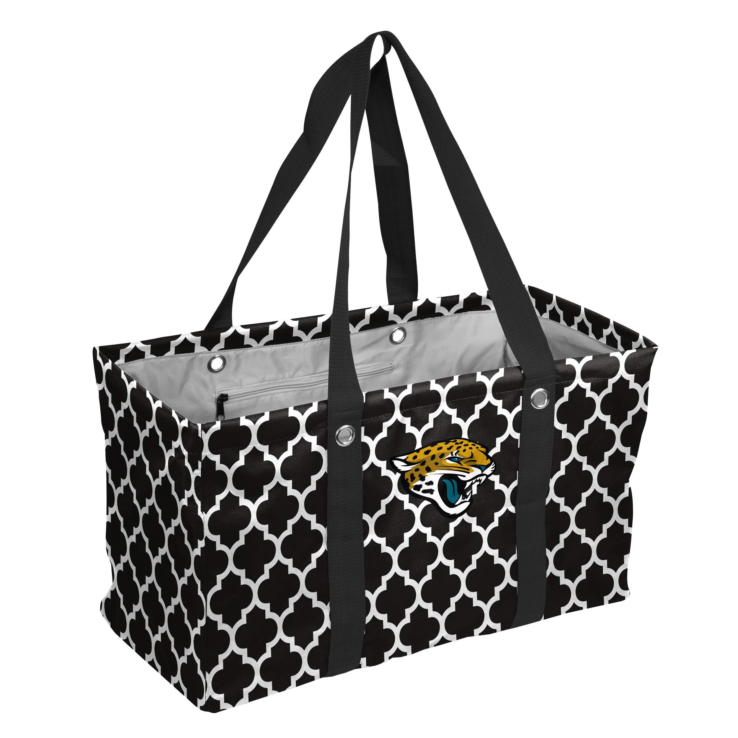 Logo Brands NFL Jacksonville Jaguars Quatrefoil Picnic Caddy, Black, One Size