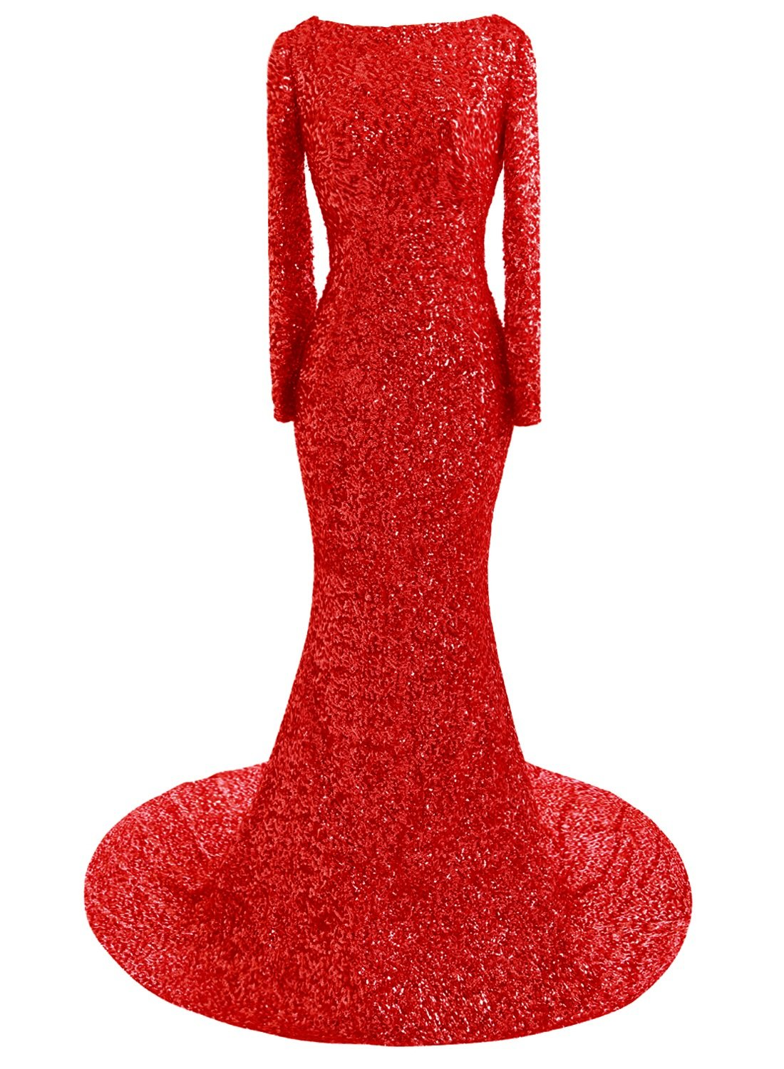 JudyBridal Women Scoop Open Back Sequins Evening Prom Gown Mermaid Party Dress US18W Red by JudyBridal