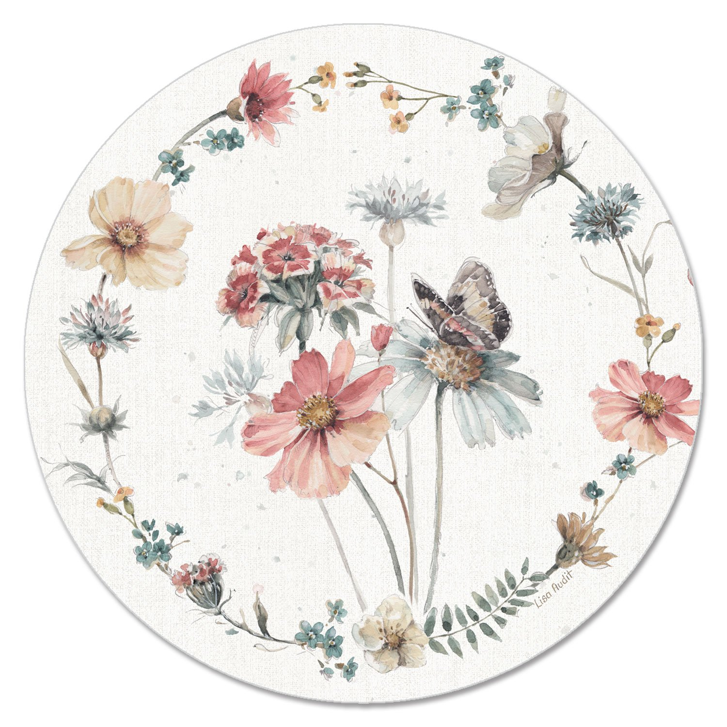 CounterArt 13-Inch Glass Lazy Susan Turntable Serving Plate, Country Floral
