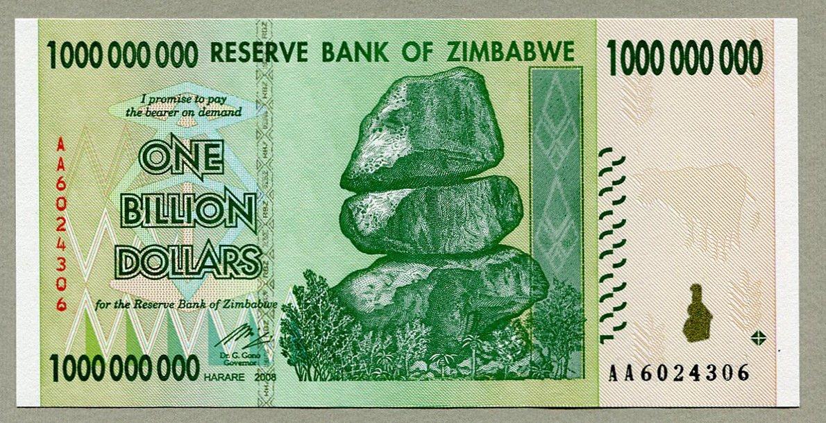 Zimbabue{1} billion billete de dólar Bill Money inflación record currency Note Zimbabwe Central Bank
