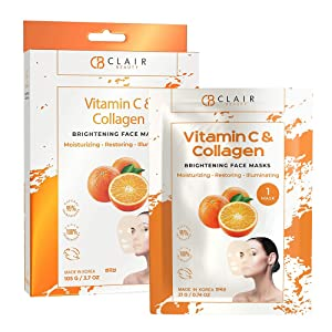 CLAIR BEAUTY Vitamin C & Collagen Brightening Sheet Face Mask - Moisturizing, Restoring & Illuminating | Reduces Creases, Fine Lines & Wrinkles | Diminishes Signs of Aging | Made in Korea - 5 Pack