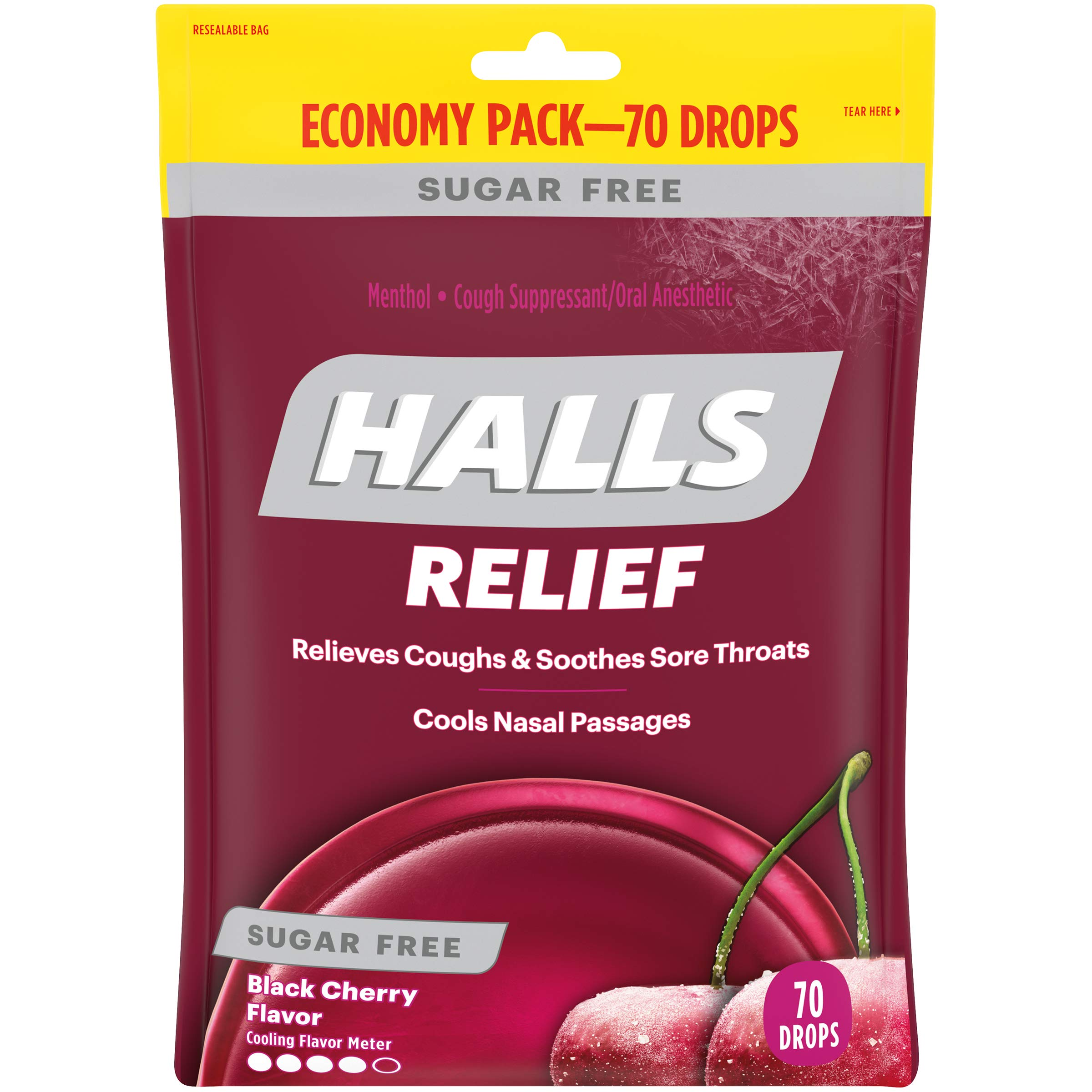 Halls Black Cherry Sugar Free Cough Drops - with Menthol - 840 Drops (12 bags of 70 drops) by Halls