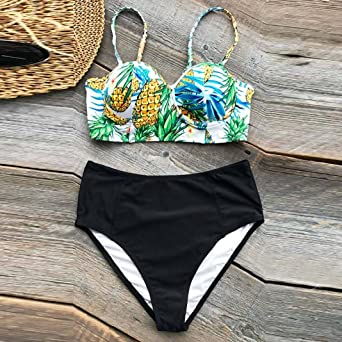 1c89c139aef Amazon.com: Paymenow Womens Pineapple Push up Padded Bikini Floral Printing  Bottom Swimsuit 2 Piece High Waist Triangle Swimwear: Clothing