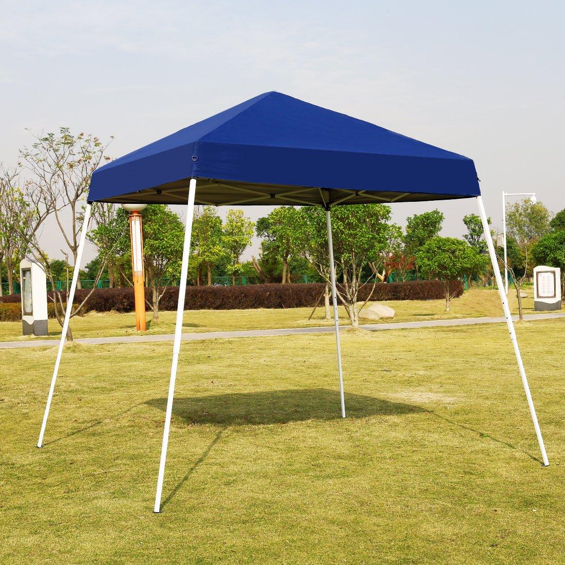 VIVOHOME Slant Leg Outdoor Easy Pop Up Canopy Party Tent Blue 10 x 10 ft