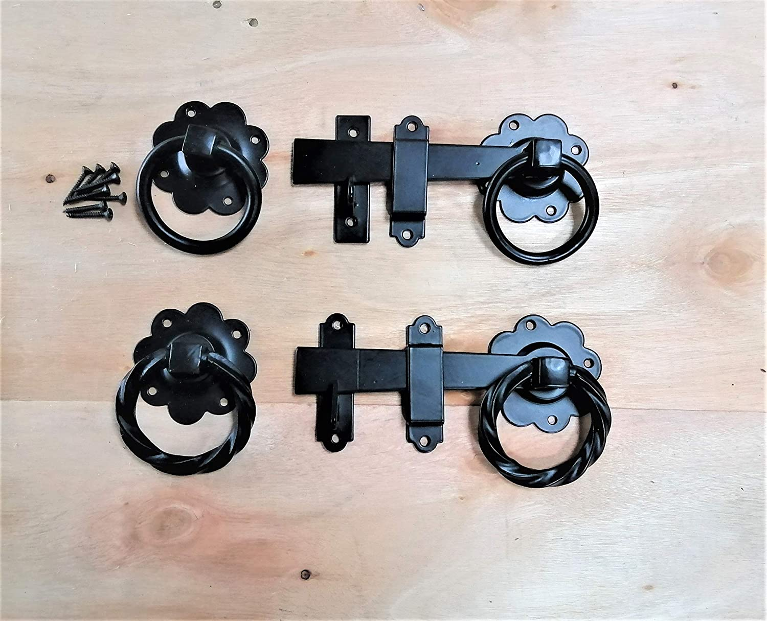 3 12 300mm Twisted Ring Latch Fitting Kit Wooden Garden Gate Black Tee Hinge