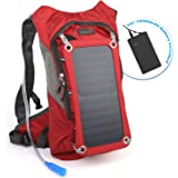 Ivation Solar Survival Backpack, Hydration Bladder Bag w/ Drinking Pipe, Waterproof Power bank, Dual Smart Phone/Tablet Charging Ports & Pockets