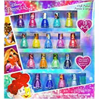 Townley Girl Disney Princesses Super Sparkly Peel-Off Nail Polish Deluxe Present Set for Girls 18 Colors