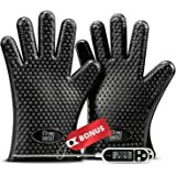 ProChefSet Non Slip BBQ Grilling Gloves and Digital Thermometer - Black