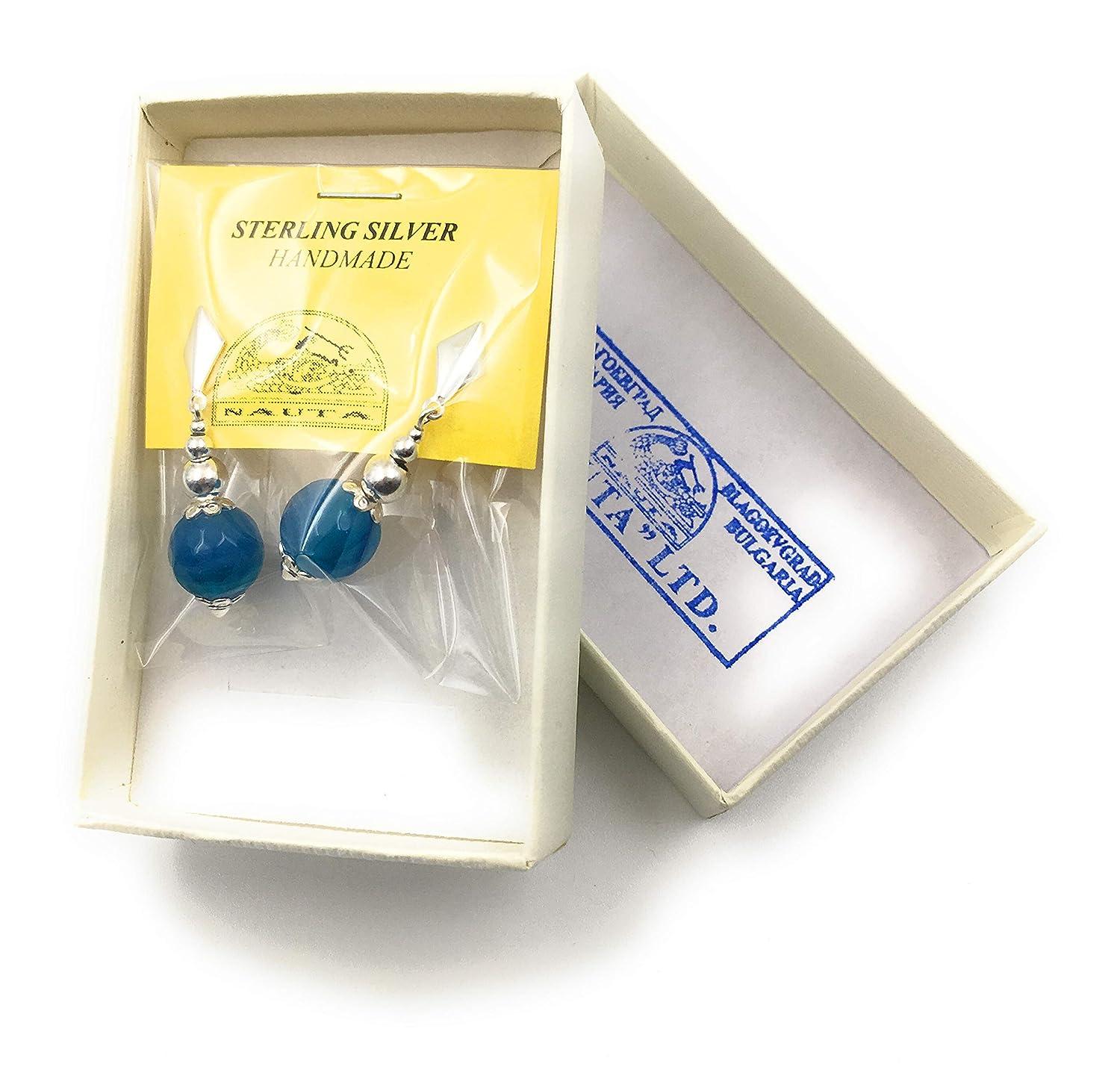 Orecchini in argento e agata blu venato palline sfaccettata di 10 mm