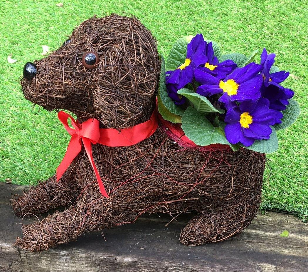 Paws & Petals Brushwood Sitting Dog Planter 30cm