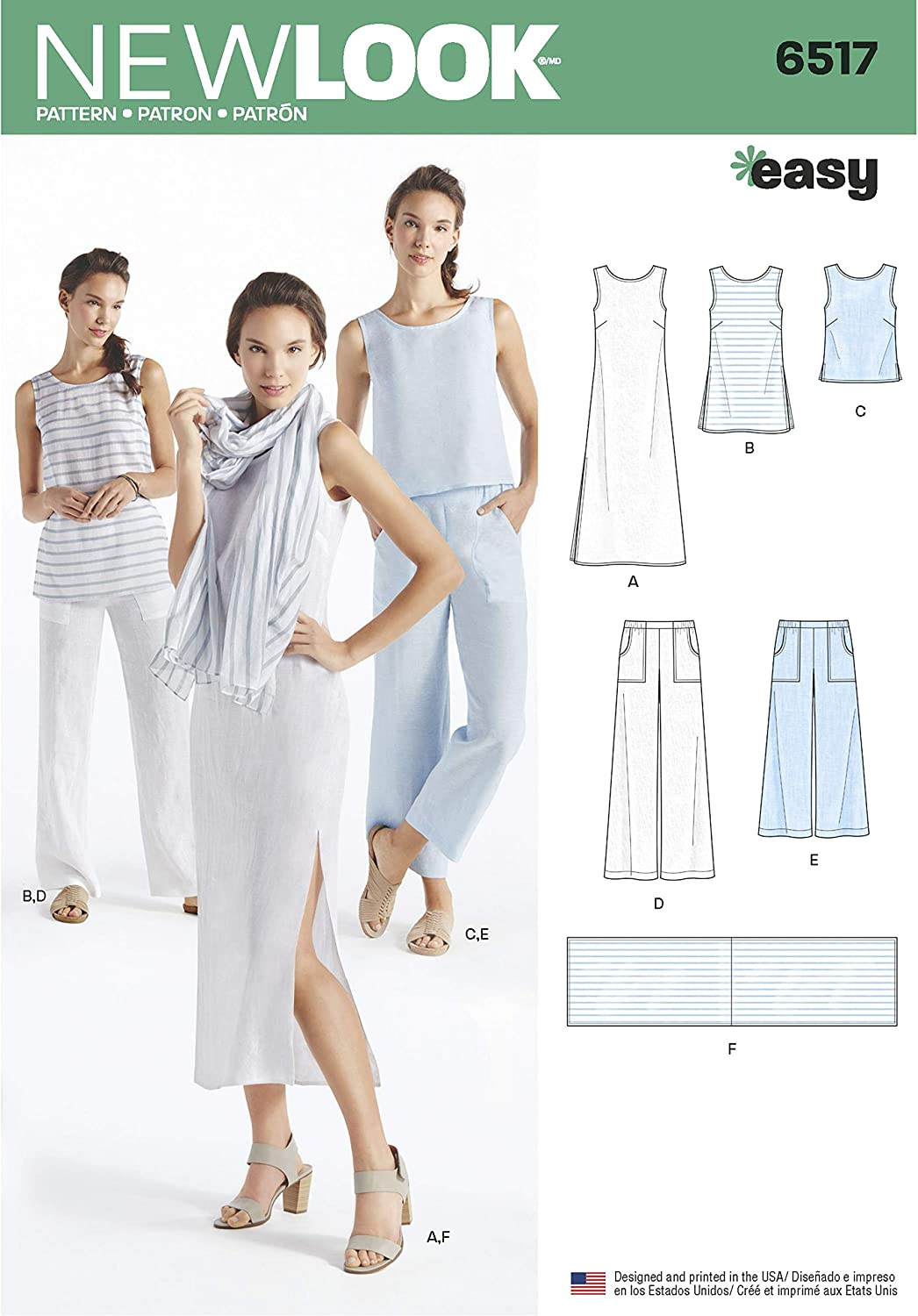 Amazon Com New Look Sewing Pattern D0602 6517 Misses Dress Tunic Top Pants And Scarf A 10 12 14 16 18 20 22 Arts Crafts Sewing