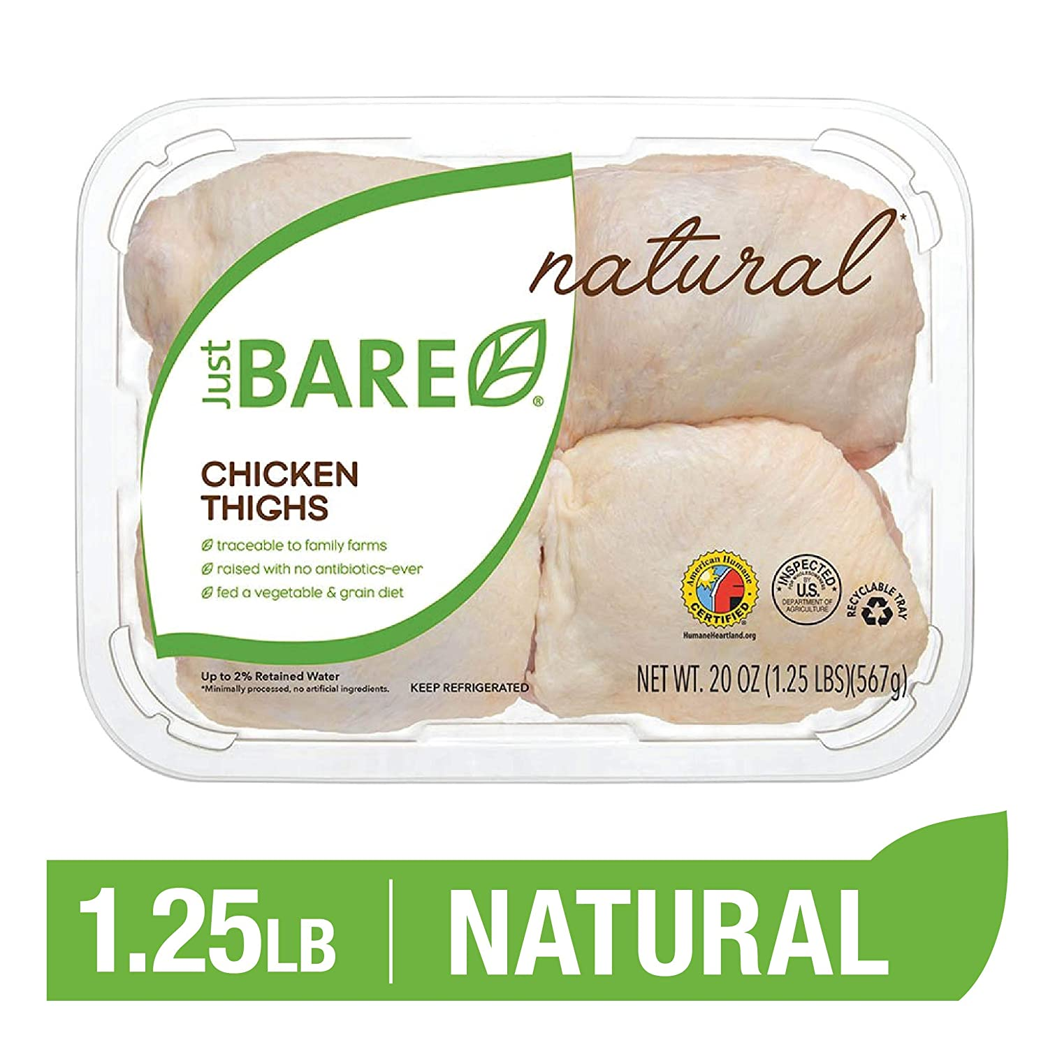 Just BARE Natural Fresh Chicken Thighs | Antibiotic Free | Bone-In | 1.25 LB