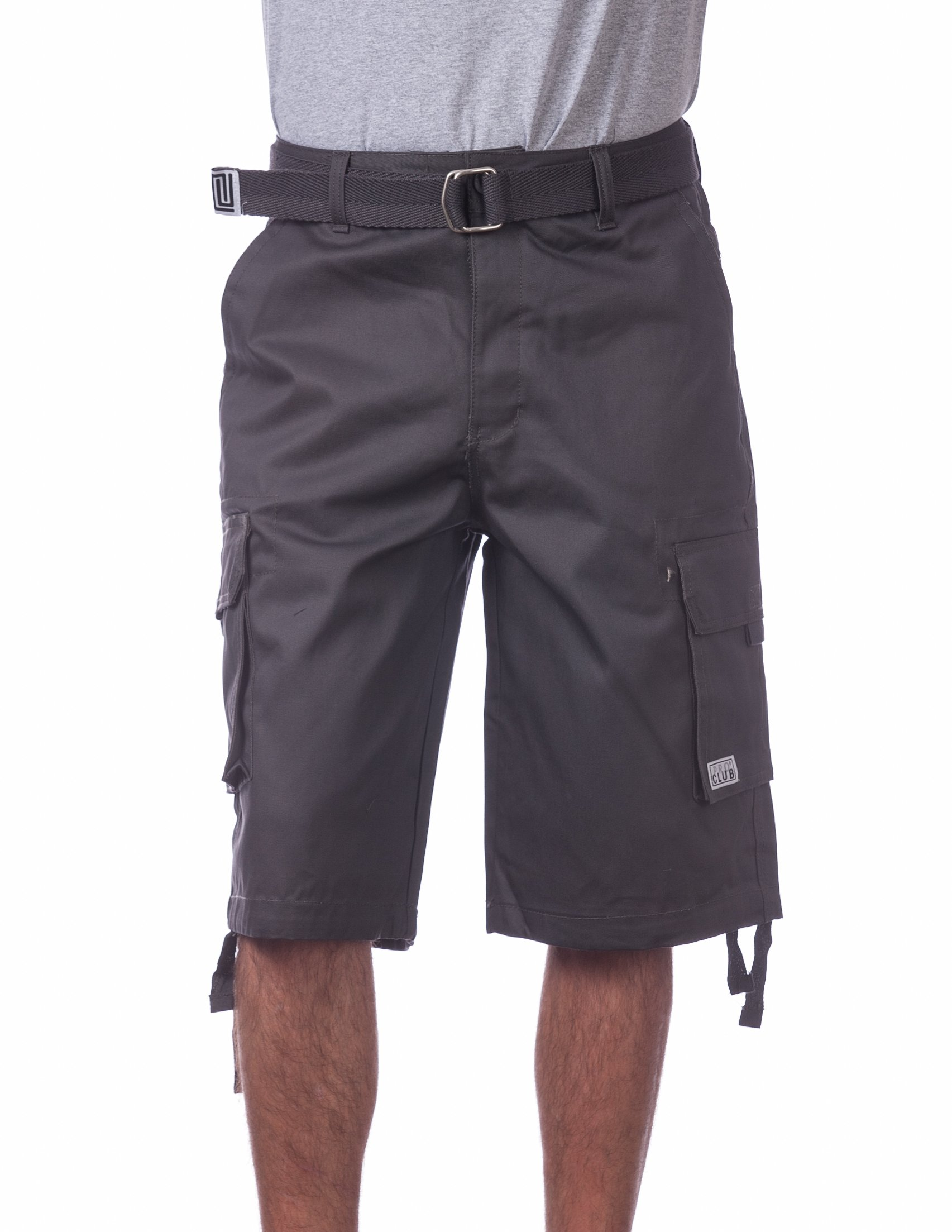 Pro Club Men's Cotton Twill Cargo Shorts with Belt, 38'', Charcoal