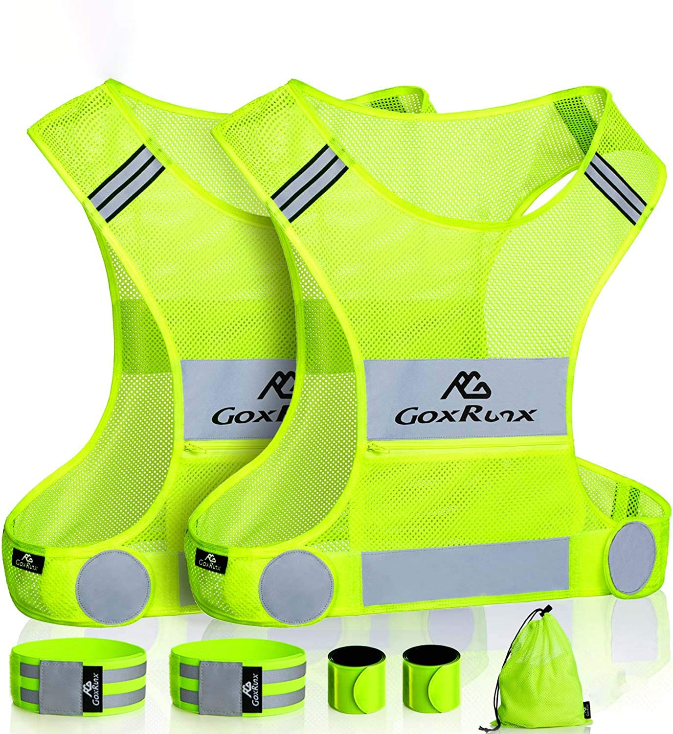 2 Pack Reflective Vest Running Gear Ultralight Runner Safety Vest+Armbands & Bag