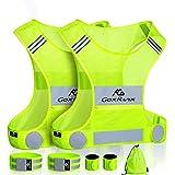 2 Pack Reflective Vest Running Gear Ultralight Runner Safety Vest+Armbands & Bag