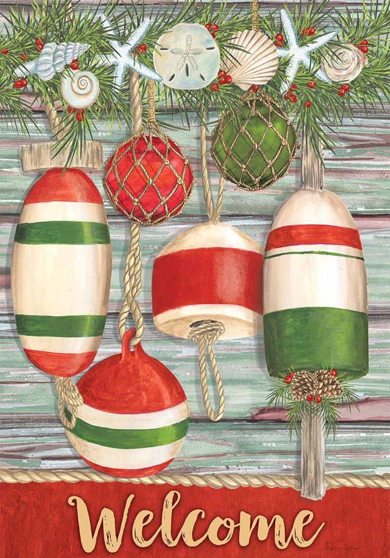 Briarwood Lane Festive Buoys Christmas House Flag Nautical Seashells 28