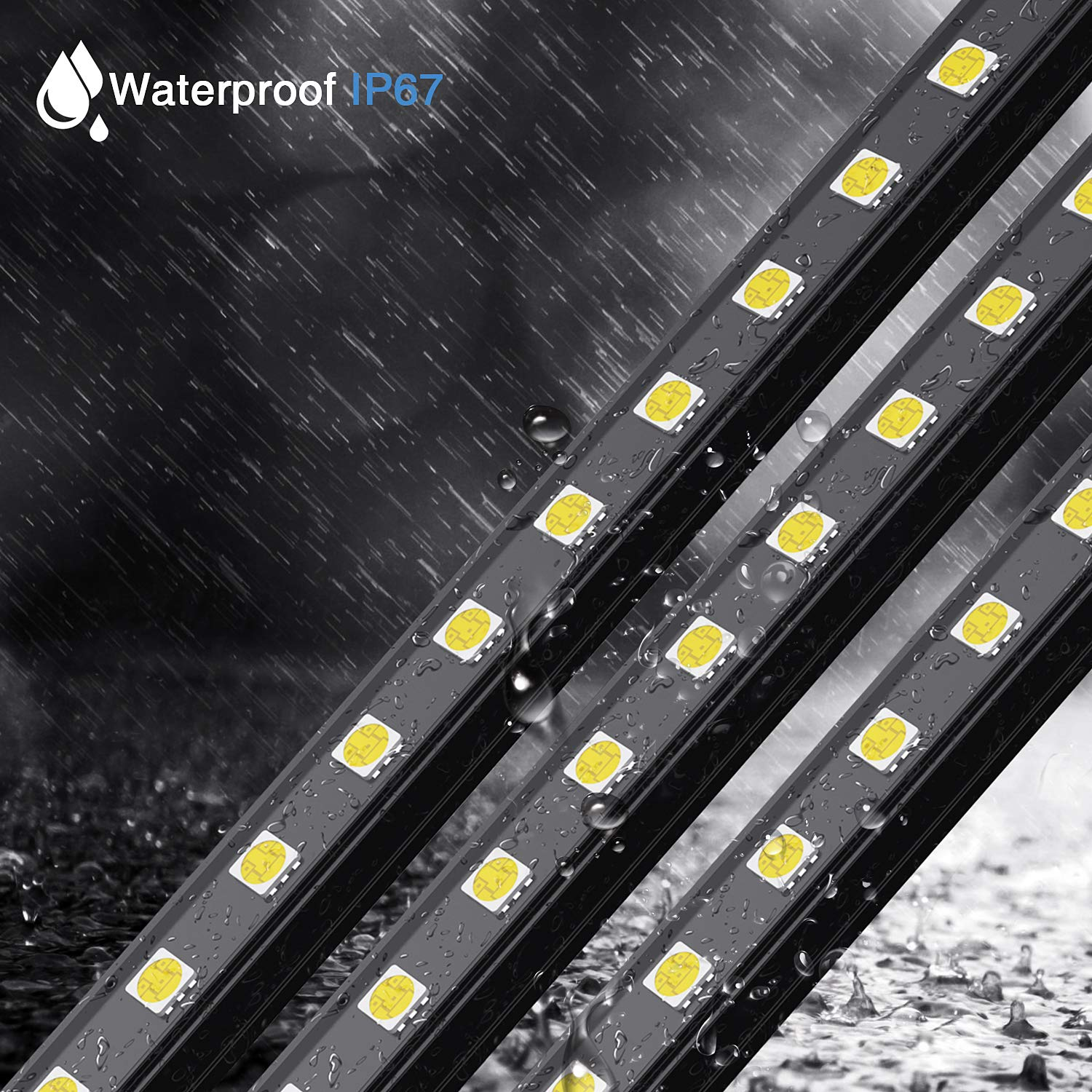 5000K Daylight White for Car Trip 4 Pack IP67 Waterproof 4.5W Car Camping Lights Bars with Vehicle Power Supply and Dimmer Switch Vehicle Repair Lighting Onforu Outdoor Car LED Strip Lights Kits