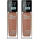 Maybelline Fit Me Matte + Poreless Liquid Foundation Makeup, Latte, 2 COUNT