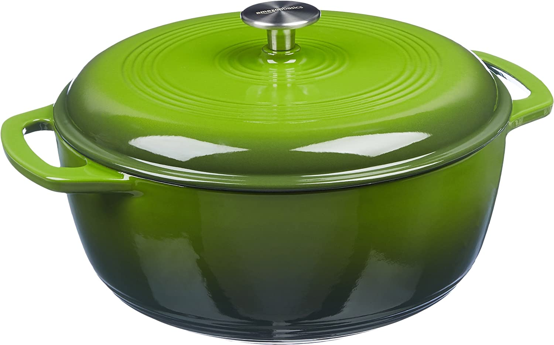 AmazonBasics Enameled Cast Iron Covered Dutch Oven, 4.3-Quart, Green
