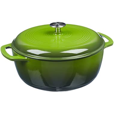 AmazonBasics Enameled Cast Iron Covered Dutch Oven, 7.5-Quart, Green