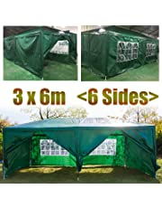 Outdoors Gazebo 3x3M with 4 Removable Side Walls while 3 with Windows 1 with Zip Garden Marquee Waterproof Canopy Tent (Blue)