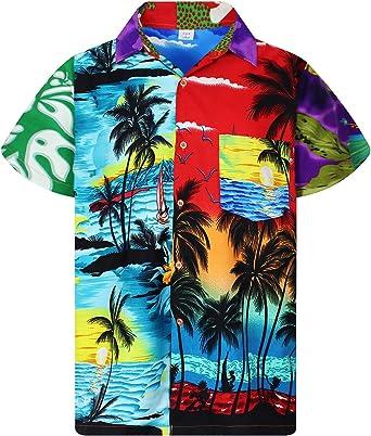 Original King Kameha | Funky Camisa Hawaiana Señores | XS-12XL |Manga Corta Bolsillo Delantero | impresión De Hawaii| Blanco |la Ejemplar único: Amazon.es: Ropa y accesorios