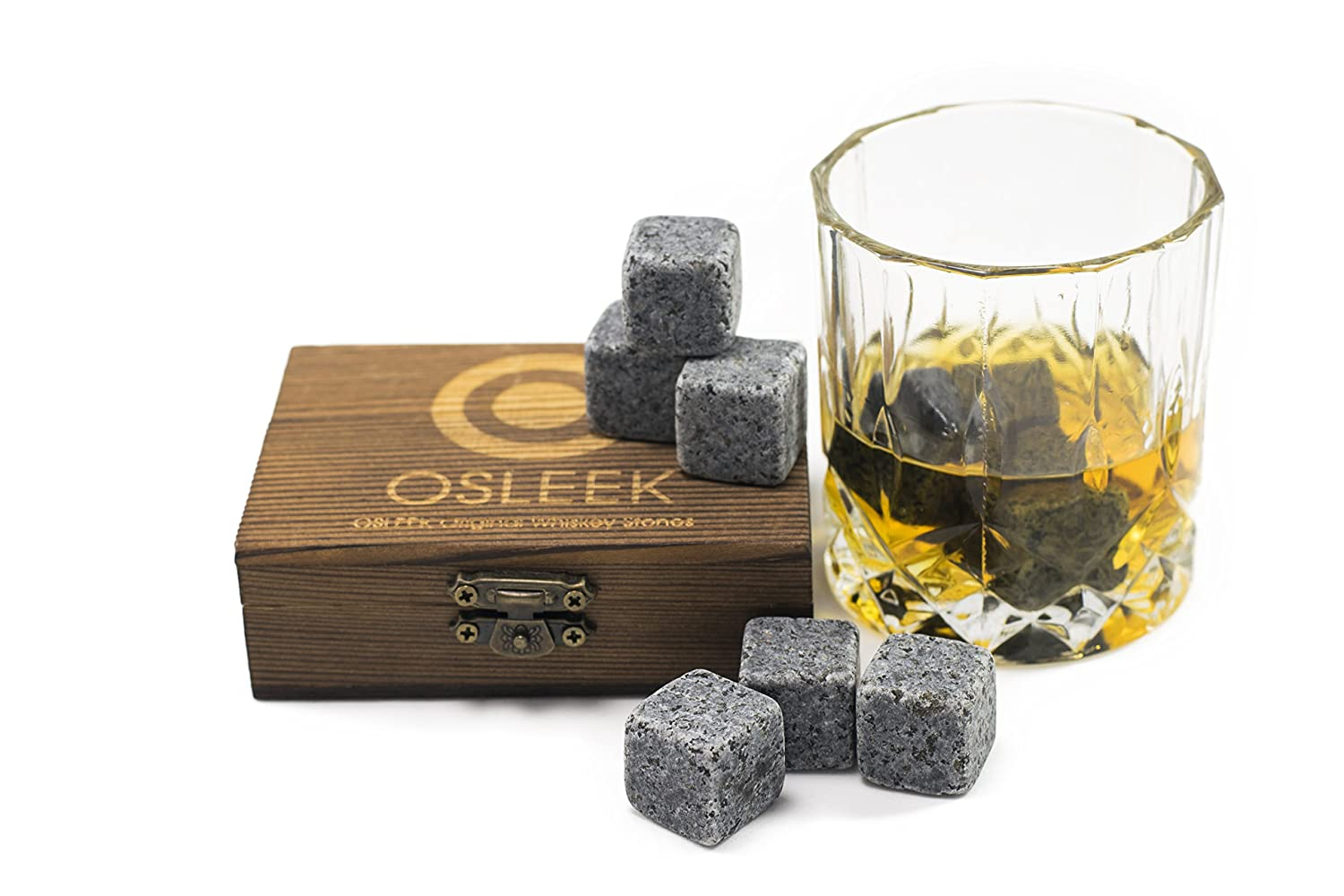 Whiskey Stones - Gift Set of 9 Pure Soapstone Chilling Rocks With Velvet Freezer Carrying Pouch | Reusable Ice Cubes | Prevents Water Dilution |Packed in Decorative Wood Souvenir Box