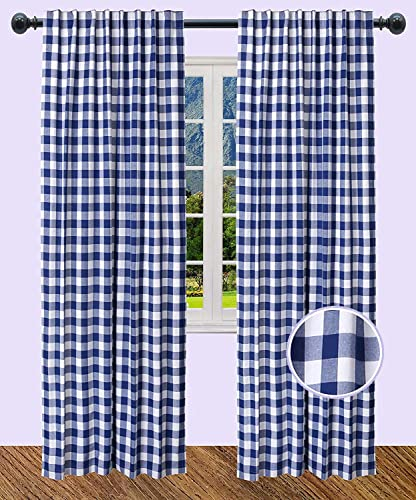 The Wooden Town Rod Pocket Curtain, Curtain for Kitchen, Living Room Curtain, Check Cotton Curtain, Curtain Panels Sets, Bedroom Curtain Panels – 50×108 Inch-Navy White- Set of 2 Panels