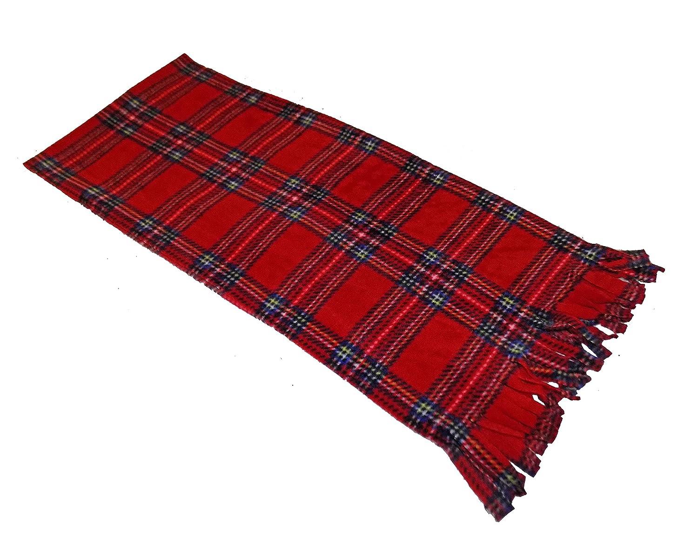 Ladies Girls Boys Men Scarves for Winter Red or Blue Plaid Fleece Scarf Red Blue Tartan Unisex Honey B' s®