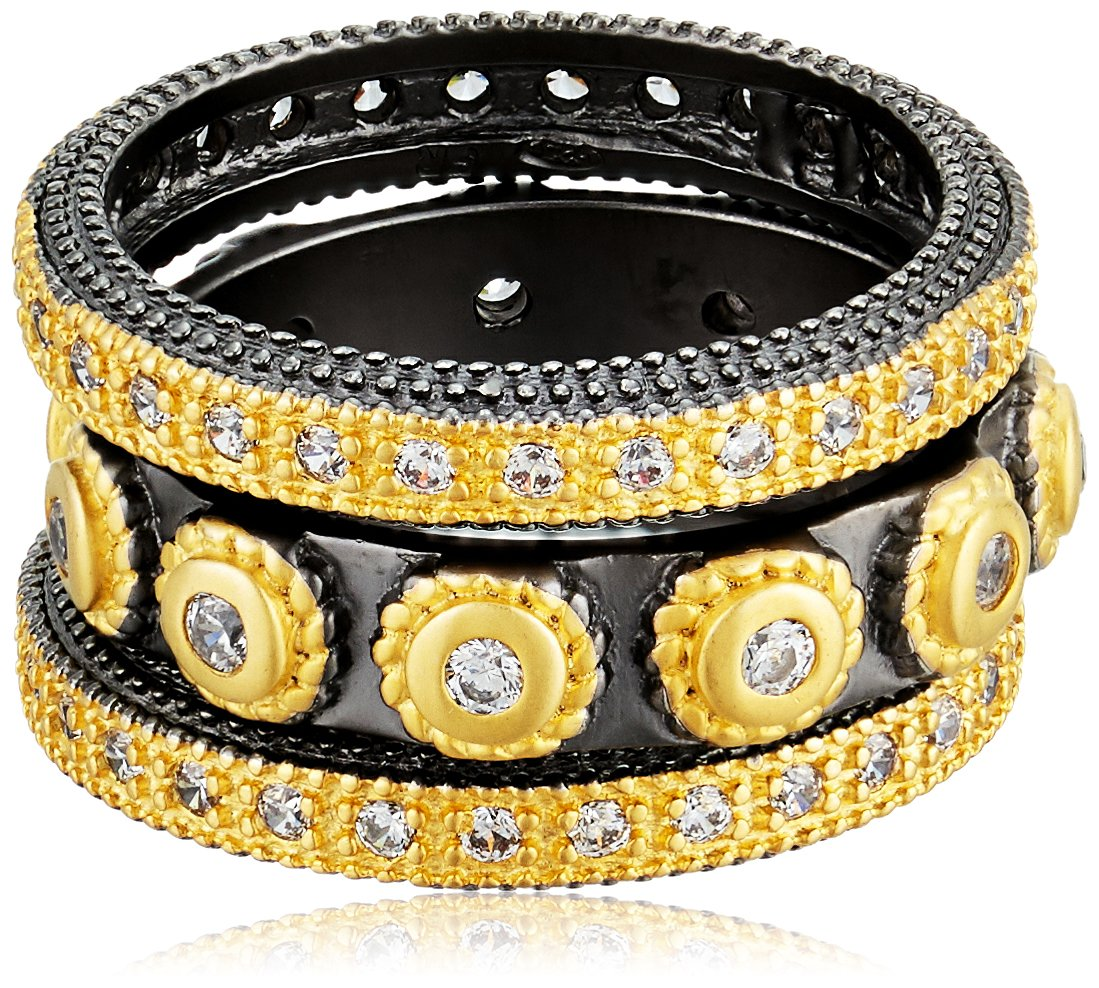 Freida Rothman Womens Signature Studded Triple Stackable Ring, Black & Gold, Size 8 by Freida Rothman