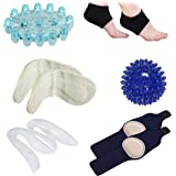 Plantar Fasciitis Cushion Arch Support (1 Pair), Foot Massager (1 Piece), Foot Sleeve Therapy Wrap (1 Pair), Foot Massage Ball (1 Piece), U-Shape Heel Cups (1 Pair), Heel Grips (1 Pair) - (Pack of 10)