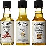 Amoretti Premium Christmas Syrups 1.7-Fluid-Ounce, 3-Pack Bottles (Peppermint, Eggnog, Gingerbread)