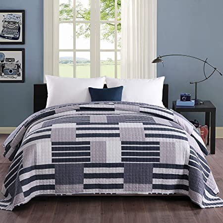 BWP5016bl WOLTU Bedspread 100/% Cotton Sofa//Bed Throw Blanket Patchwork Quilted Comforter Coverlet Vintage Plaid Blue 150x200cm