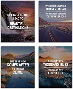 """VOUORON Modern Inspirational Landscape Famous Quotes Art Painting Set of 4 (8""""X10""""Canvas Picture) Motivational Posters Wall Art for Office Posters for Classroom Decor Office Wall Art Prints Frameless"""
