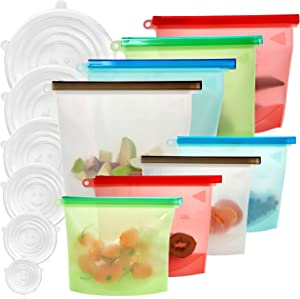 Reusable silicone food storage bags 14 Pack (4 Large bags+ 4 Medium bags+ 6 Silicone bowl lids) Reusable sandwich bags - Leakproof snack bag BPA free - Reusable food bags- Freezer and dishwasher safe