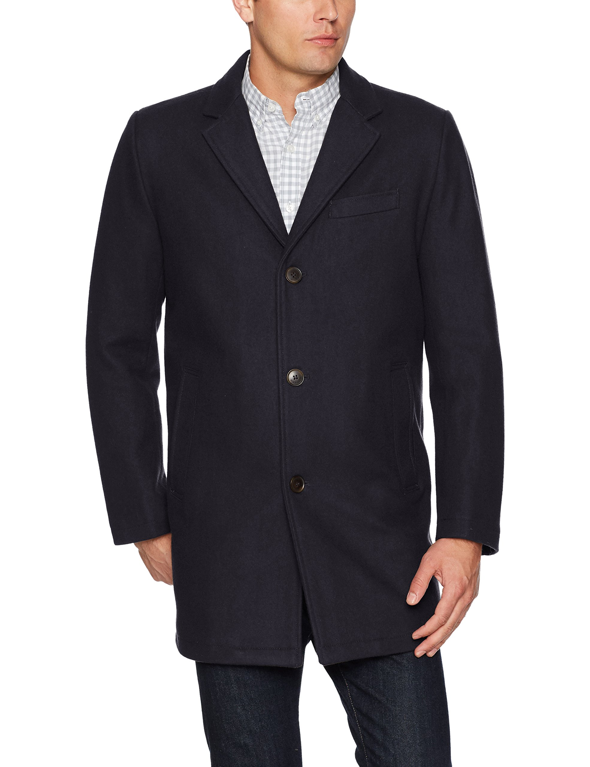 Tommy Hilfiger Men's Wool Tailored Top Coat, Navy, Medium