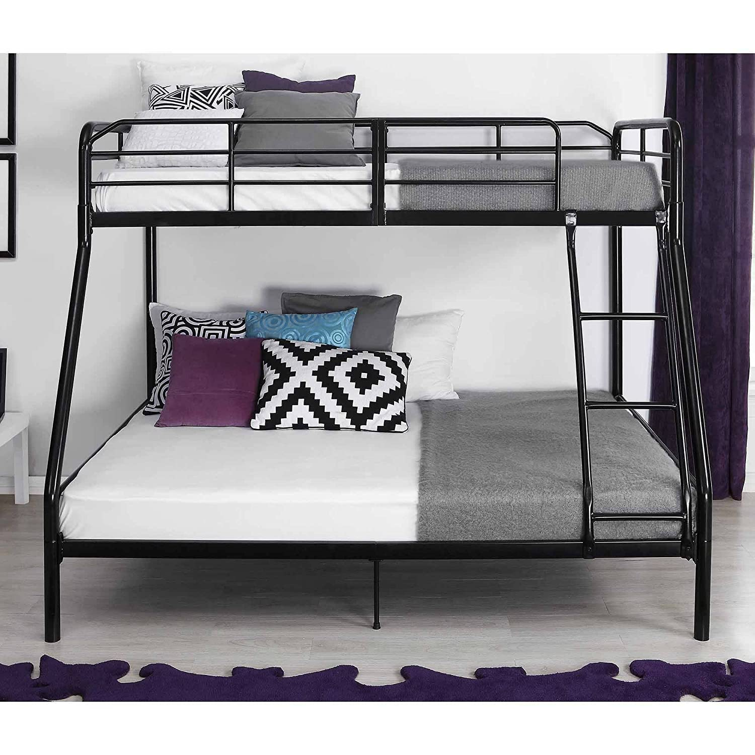 Full Over Full Bed Part - 48: Amazon.com: Twin Over Full Bunk Bed Kids Teens Bedroom Dorm Furniture Metal  Beds Bunkbeds With Ladder Black By Mainstays: Kitchen U0026 Dining