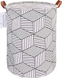 LANGYASHAN Storage Bin, Canvas Fabric Collapsible Organizer Basket for Laundry Hamper,Toy Bins,Gift Baskets, Bedroom, Clothes,Baby Nursery(White Diamond)
