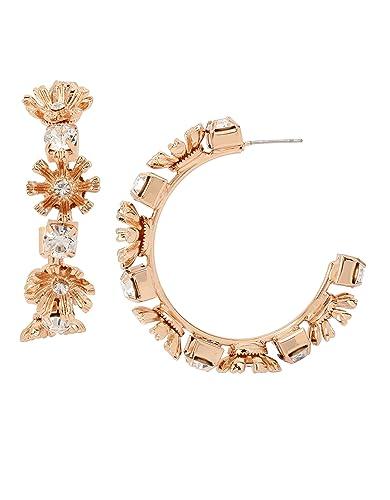 1a090cdd5283 Bebe Aretes Oro Rosado para Mujer Tipo Arracadas con Detalles en Forma de  Flor y Cristales