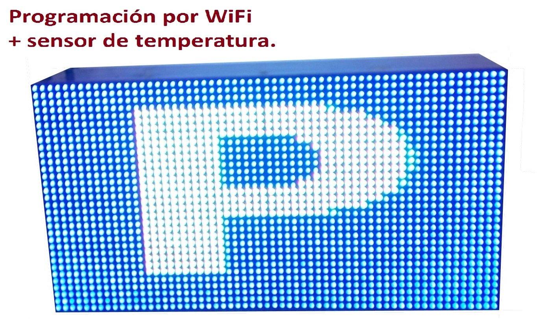 Cartel LED programable por WiFi y sonda de temperatura (64x32 cm, RGB) / Letrero programable / Pantalla programable / Pantalla de texto con movimiento ...