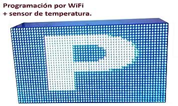 Cartel LED programable por WiFi y sonda de temperatura (64x32 cm, RGB) /