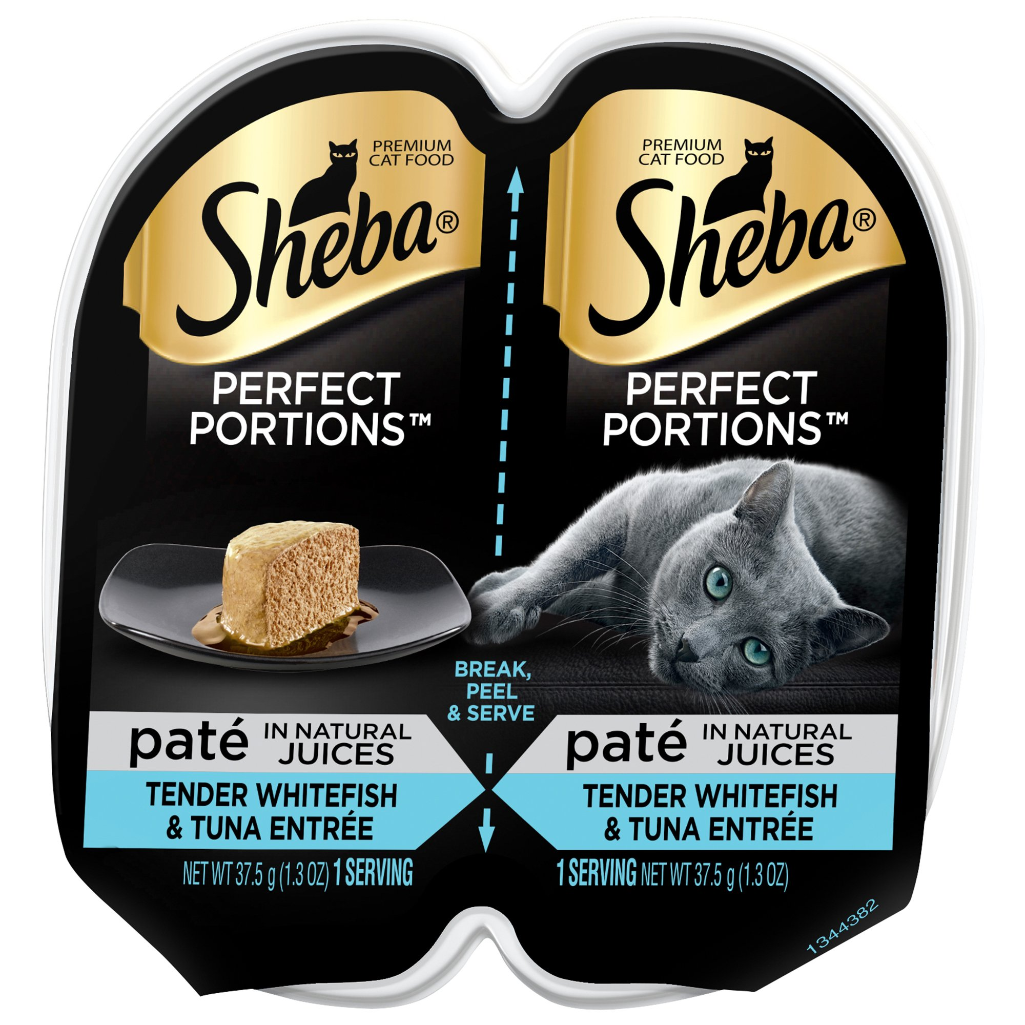 SHEBA PERFECT PORTIONS Paté in Natural Juices Tender Whitefish & Tuna Grain Free Cat Food 2.6 Ounces (24 Twin Packs)