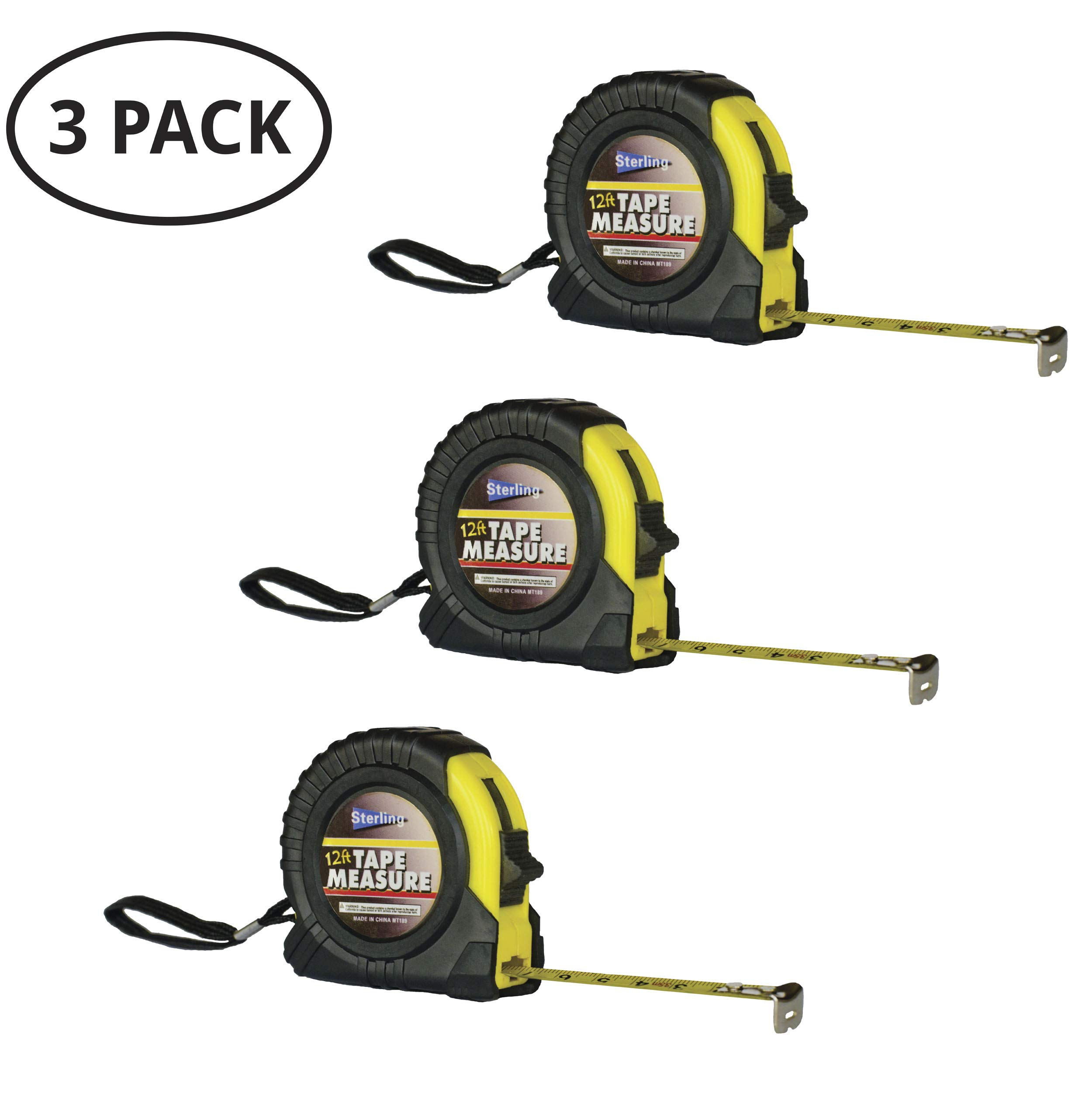 Tape Measure 3 Pack - 12 foot retractable small measuring tape with inch and cm, accurate, easy to read numbers and fractions with belt clip, metric, mini multi set by Daily Living Products
