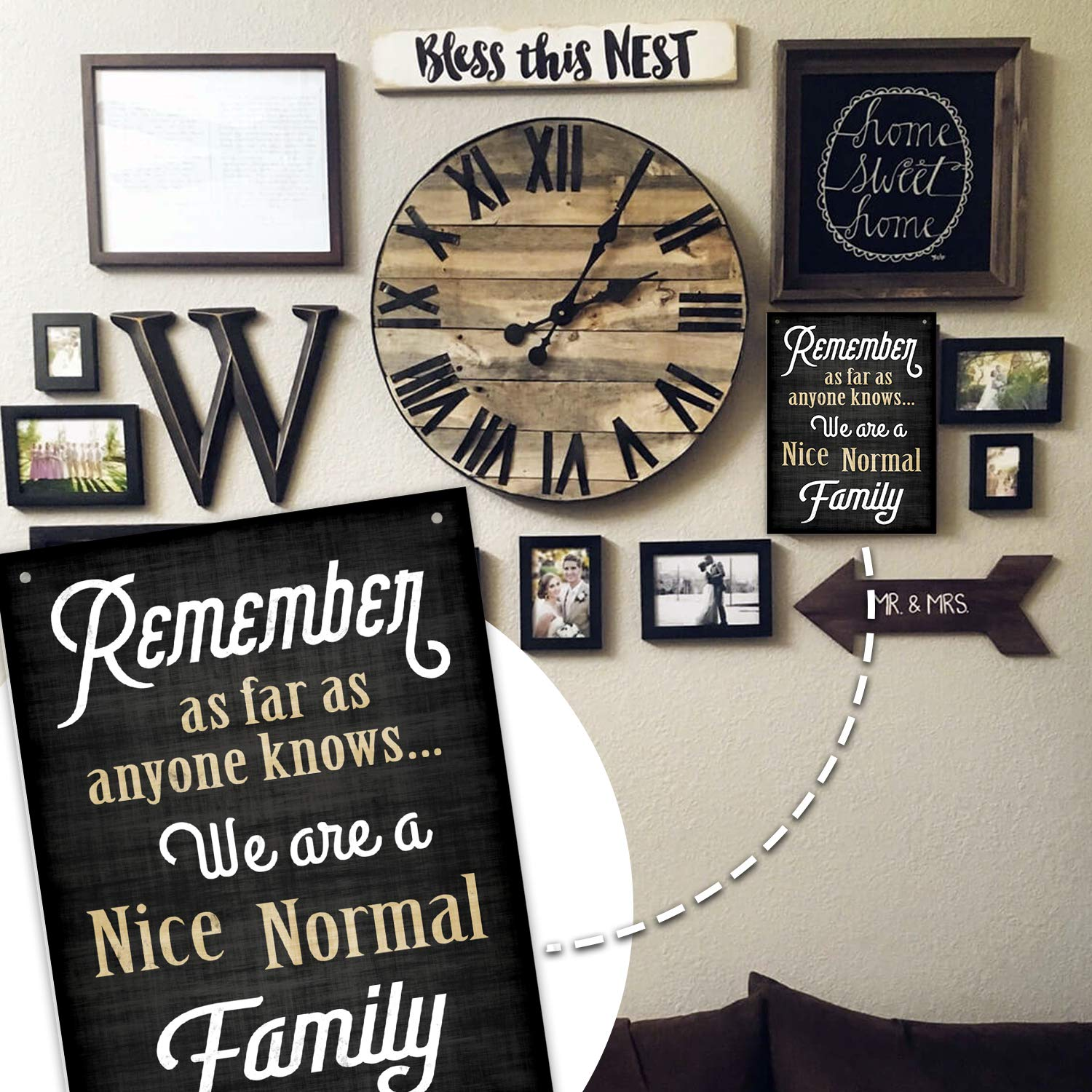 Quirky Funny Family Decoration Signs for Home Remember As Far As Anyone Knows We are a Nice Normal Family Business 11.75 x 9 Rigid PVC Front Porch Signs Decor Bigtime Signs Family Quote Sign