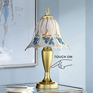 """Traditional Accent Table Lamp 18"""" High Brass Blue Floral Glass Shade Touch On Off for Bedroom Bedside Office - Regency Hill"""