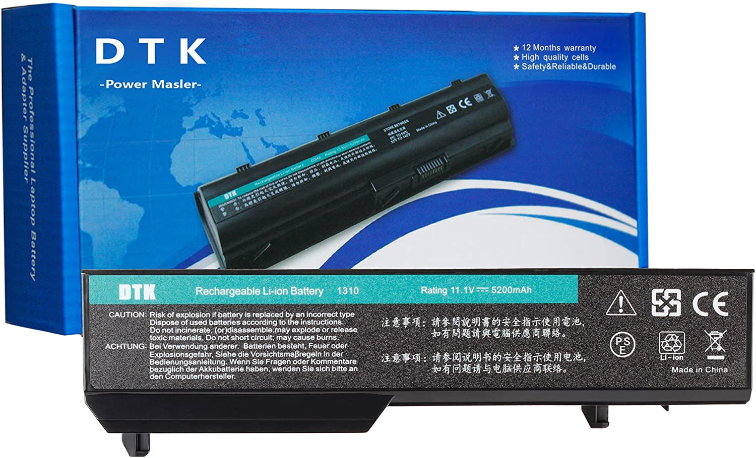 DTK K738H T114C Laptop Battery Replacement for DELL Vostro 1310 1320 1510 1511 1520 2510 PP36L PP36S Notebook [ 6-Cell 11.1v 5200mah/56wh]