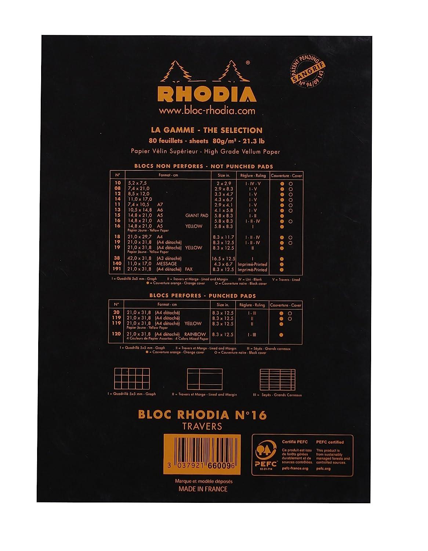 Bloc agraf/é Rhodia 80 gr 80 feuilles N/°16 148x210cm Noir marge lign/é