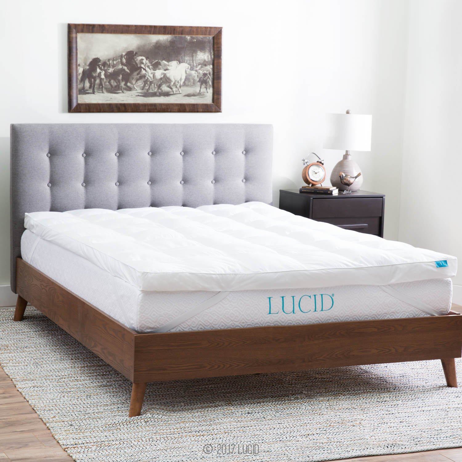 LUCID Plush Down Alternative Fiber Bed Topper - Allergen Free - King Size by Lucid®