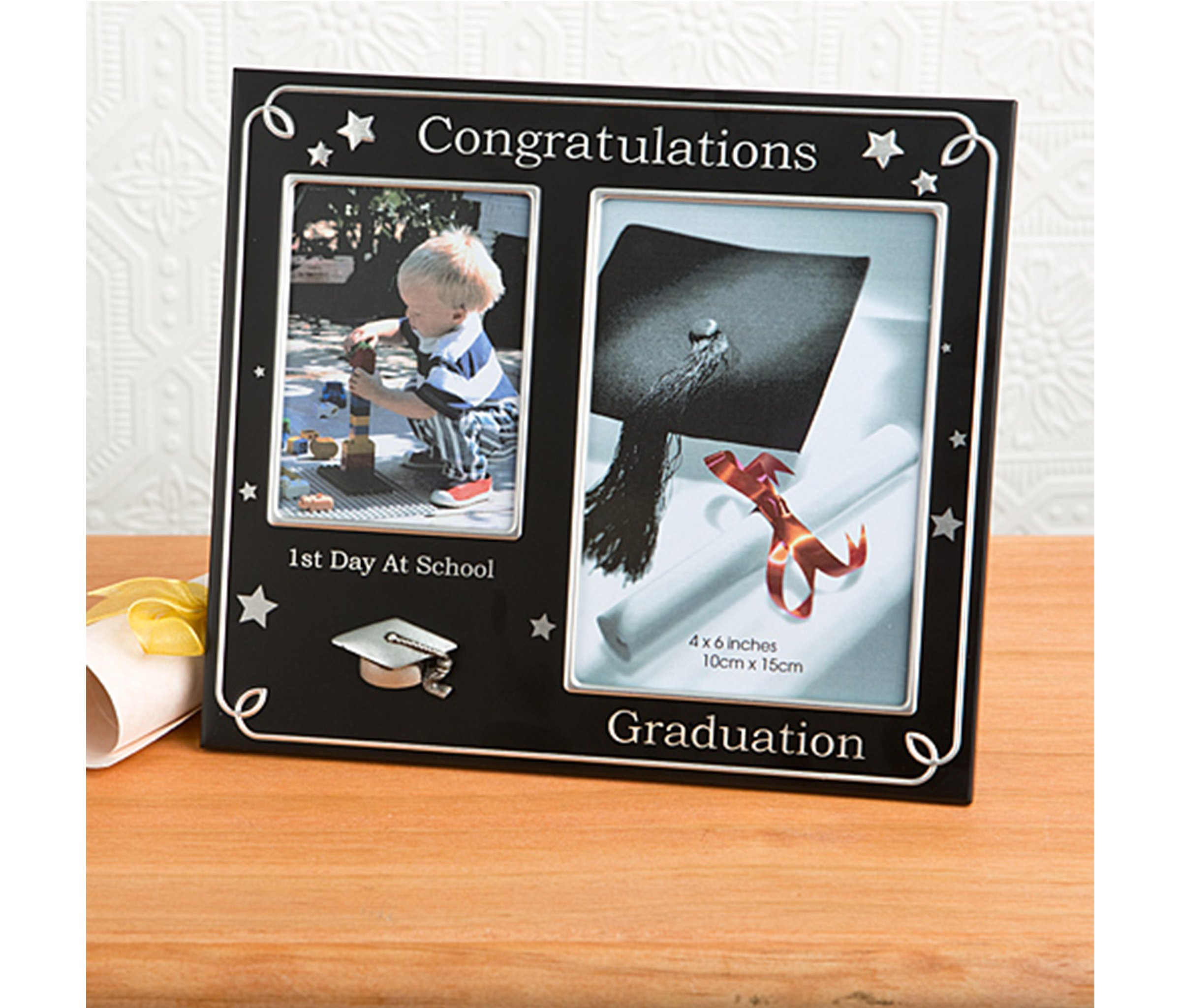 Mozlly Multipack - Fashioncraft Black First Day of School and Graduation 4x6 Photo Frame - 8.25 x 7.25 inch - Holds 4x6 and 3.75x2.75 photos - Silver Accents - 3D Cap Accent - Home Accents (Pack of 6)